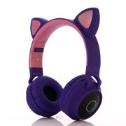 Music Headset Headphone Creative Cat Ear Stereo Over-Ear Game Gaming Bass Headset Noise Canceling Headband Earphone for PC and Android Smartphones, PURPLE