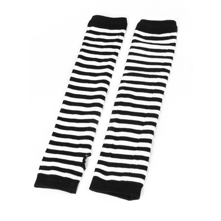 Pair Stripes Print Elastic Wrist Arm Warmer Gloves Black White for Lady (Striped Wrist Warmers)
