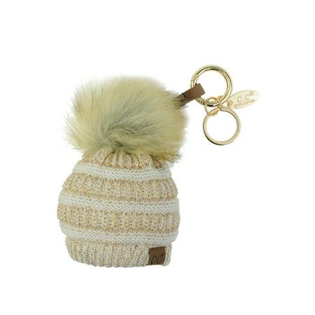 4be7cbf2c NYFASHION101® Pom Pom Beanie Key Chain Key Ring Handbag Tote Accessory -  Ivory/Gold