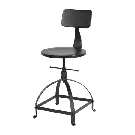 iKayaa Industrial Style Metal Bar Stool Ajustable Height Swivel Kitchen Dining Chair W/ Backrest ()