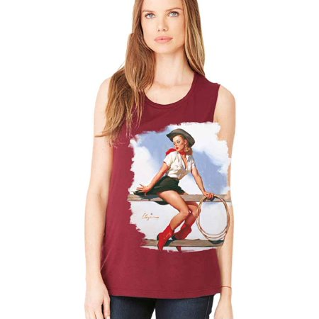 Pin up Girl Rodeo Cowgirl Red Boots Women's Muscle Tank Tee Maroon Large](Girl Cowgirl)