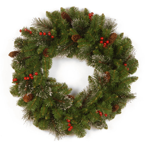 "National Tree Unlit 24"" Crestwood Spruce Wreath with Silver Bristle, Cones, Red Berries and Glitter"