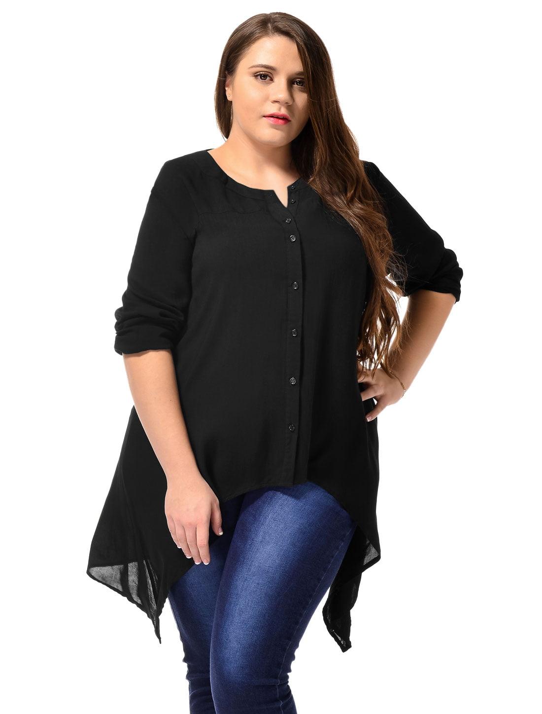 Unique Bargains Women's Long Sleeve Button Down Plus Size Casual Blouse Tunic Shirt Black (Size 3X)