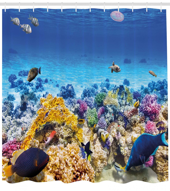 Fish Shower Curtain Underwater Sea World Scene With