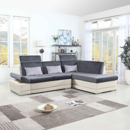 Modern Large Brush Microfiber L Shape Sectional Sofa Couch With