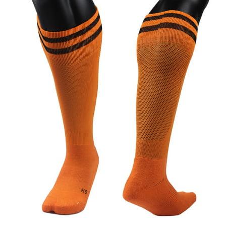 Lian Style Women's 1 Pair Knee Length Sports Socks for Baseball/Soccer/Lacrosse XL003 - Orange Knee Socks