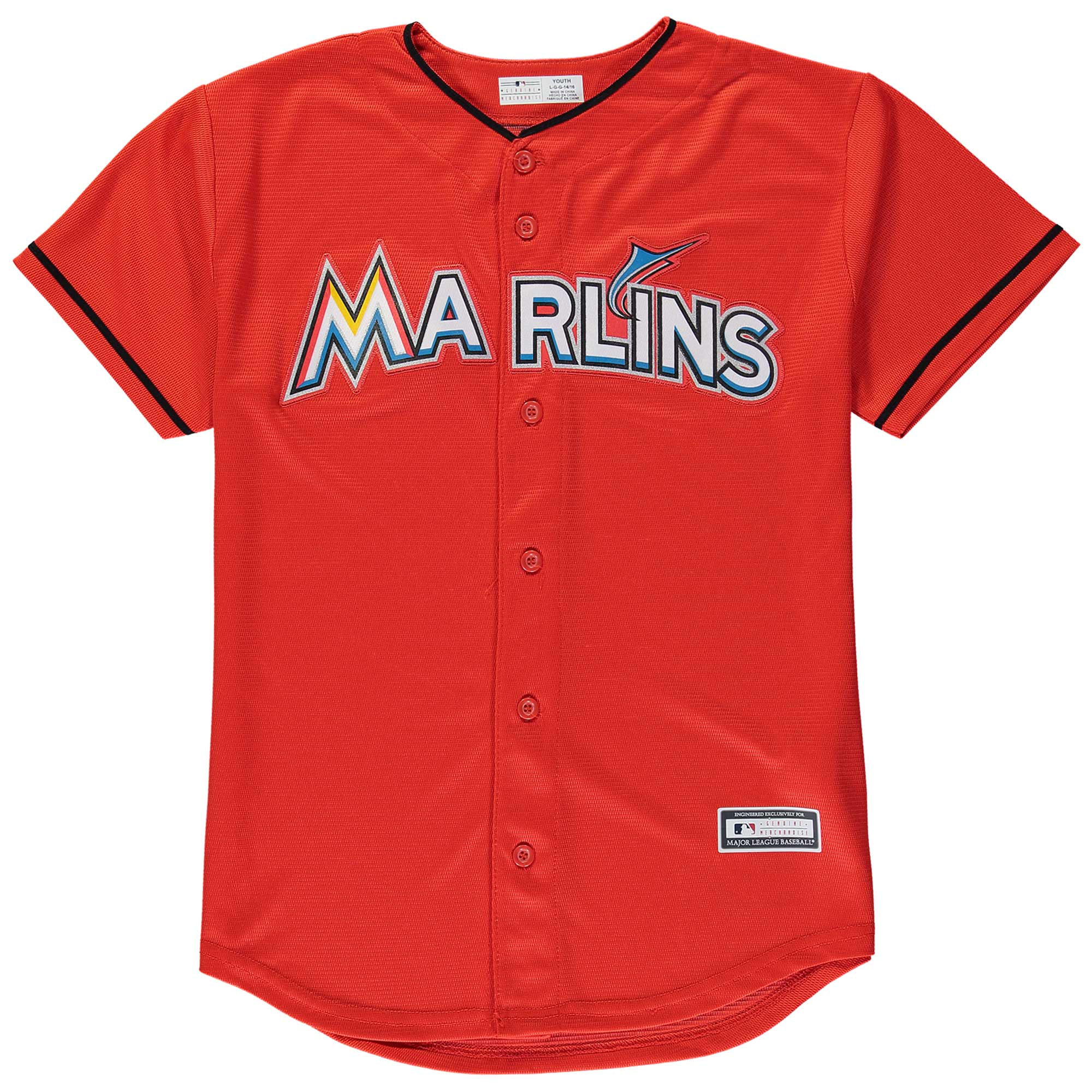 Miami Marlins Youth Replica Blank Team Jersey - Orange