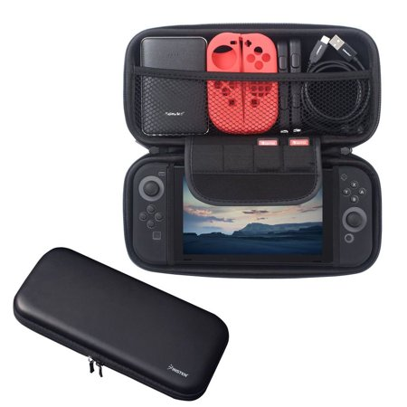 Little Black Travel Case - Nintendo Switch case, by Insten Nintendo Switch Travel Carrying Case [Full Protection] with 4 Card Slots Protective EVA Hard Shell Case For Nintendo Switch Console [2017 New Release] Black with Zipper