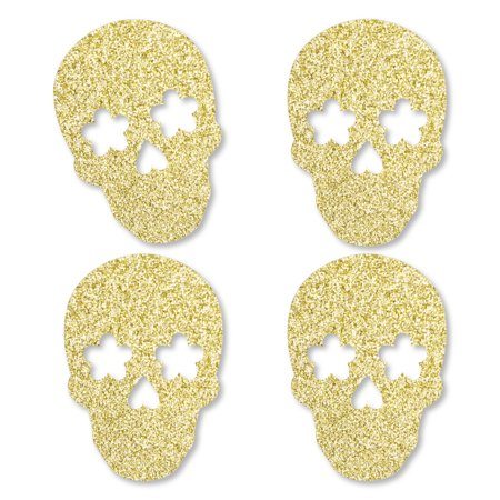 Halloween Days Out Kent (Gold Glitter Sugar Skull - No-Mess Real Gold Glitter Cut-Outs - Day of The Dead and Halloween Party Confetti - Set of)