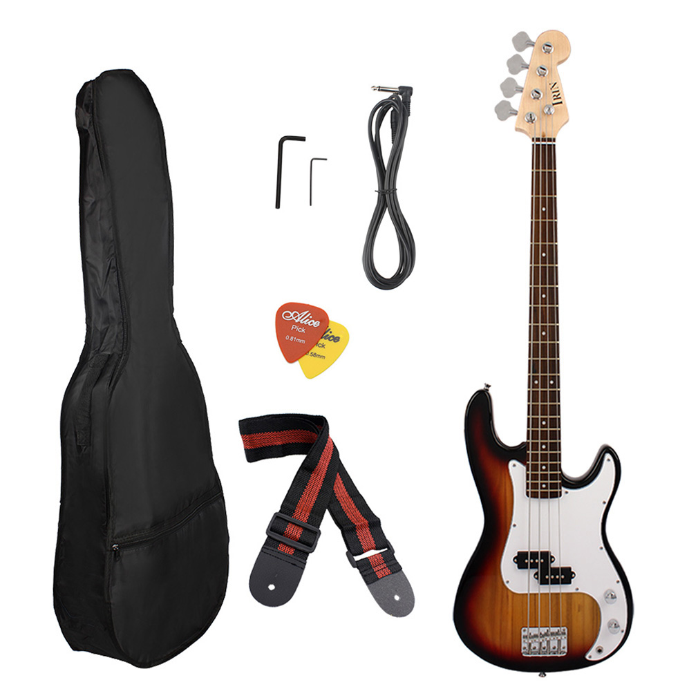 Acoustic Electric Bass Guitar With Equalizer Solid Construction Includes Strap, Guitar... by