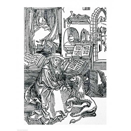 - St Jerome in his study pulling a thorn from a lions paw Poster Print by Albrecht Durer