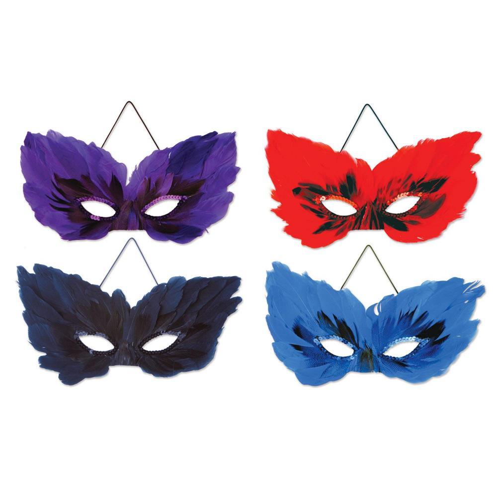 Beistle Feather Masks elastic attached 4pack