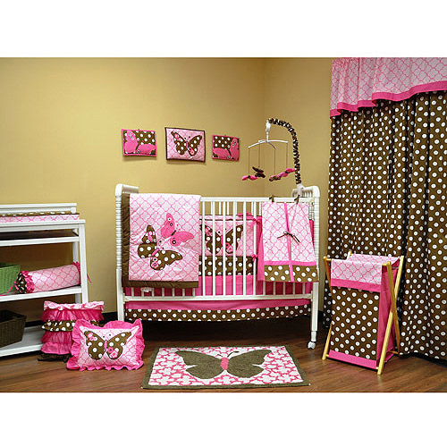 Bacati - Butterflies Pink/Choco 10pc Nursery-in-a-Bag Crib Bedding Collection Value Bundle