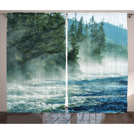Yellowstone 3 Light (Yellowstone Decor Curtains 2 Panels Set, Fog on River Alpine Trees by the Bank Wilderness Waterscape Picture Art, Window Drapes for Living Room Bedroom, 108W X 90L Inches, Green Blue,)