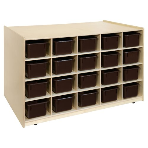Wood Designs Island Double Sided 20 Compartment Cubby with Trays