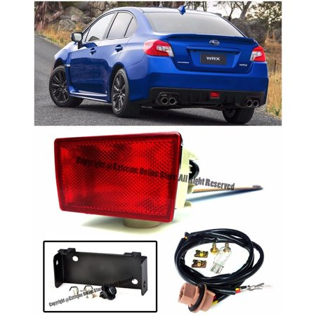 For 2015-Present Subaru Impreza WRX & STi | EOS CRYSTAL RED Lens JDM Rear Driving Fog Light Reverse Back Up Tail Lamp W/ Mounting Bracket