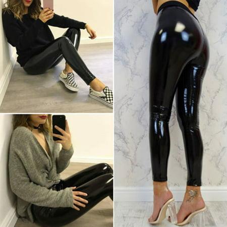 Womens Black Pants Slim Soft Elastic Strethcy Shiny Wet Look Faux Leather Leggings Size S