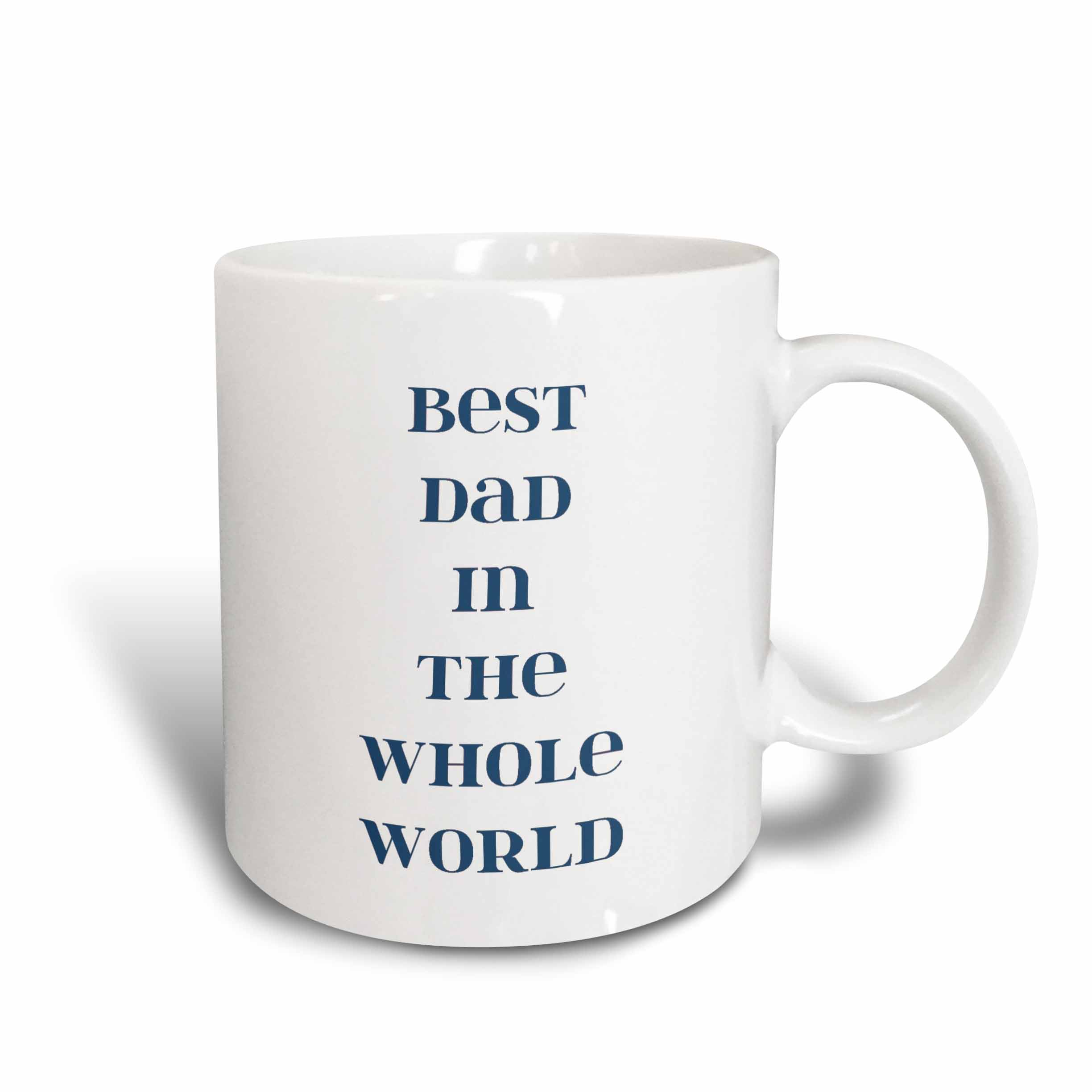 3dRose Best Dad in the World Fathers Day Words, Ceramic Mug, 11-ounce by 3dRose