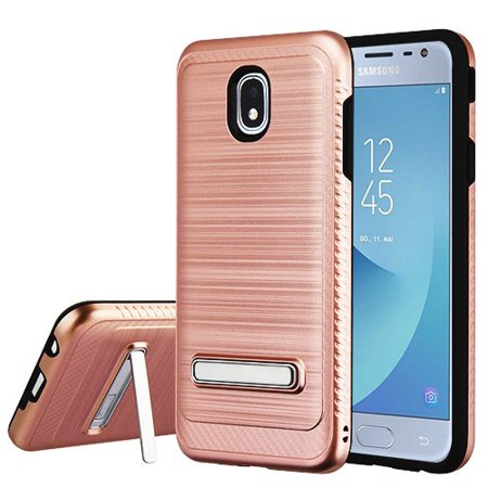 Samsung Galaxy J3 2018, J337, J3 V 3rd Gen, J3 Star, J3 Achieve, Express Prime 3 Phone Case Slim Tuff Hybrid Rubber Silicone Shockproof Dual Layer Hard TPU Rugged Thin Stand Cover - Rose Gold - 3rd Degree Silicone