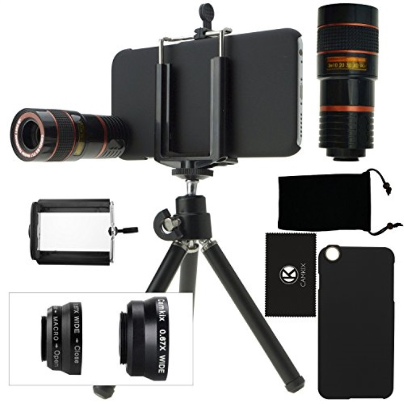 CamKix Camera Lens Kit Compatible with iPhone 6 / 6S - incl. 8X Telephoto Lens/Fisheye Lens / 2 in 1 Macro Lens and Wide Angle Lens/Tripod/Phone Holder NOT Compatible with iPhone 6 / 6S Plus
