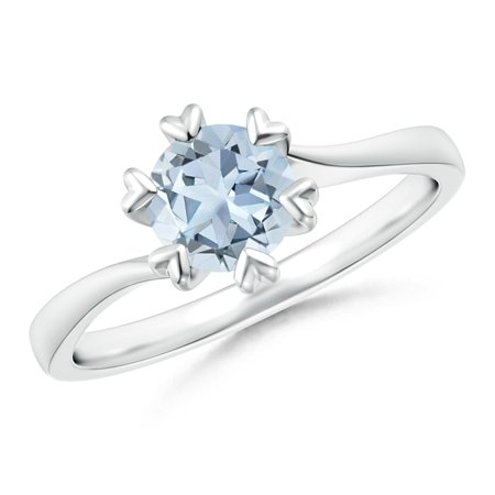 March Birthstone Ring - Heart Prong-Set Round Aquamarine Solitaire Ring in Silver (6mm Aquamarine) - SR1197AQ-SL-A-6-12
