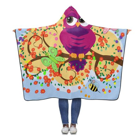 HATIART Cute Owl Throw Hooded Blanket 56x80 inches Adults Girls Boys Polar Fleece Blankets with Hood - image 1 of 2