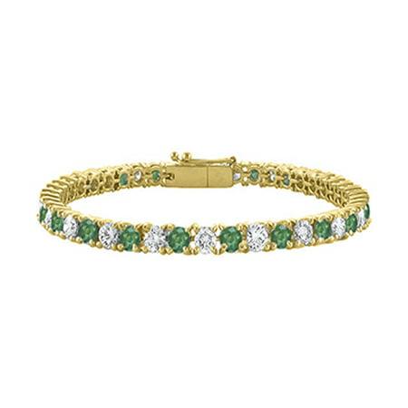 Created Emerald and Cubic Zirconia Tennis Bracelet in 18K Yellow Gold Vermeil.10CT. TGW. 7 Inch - image 1 de 2