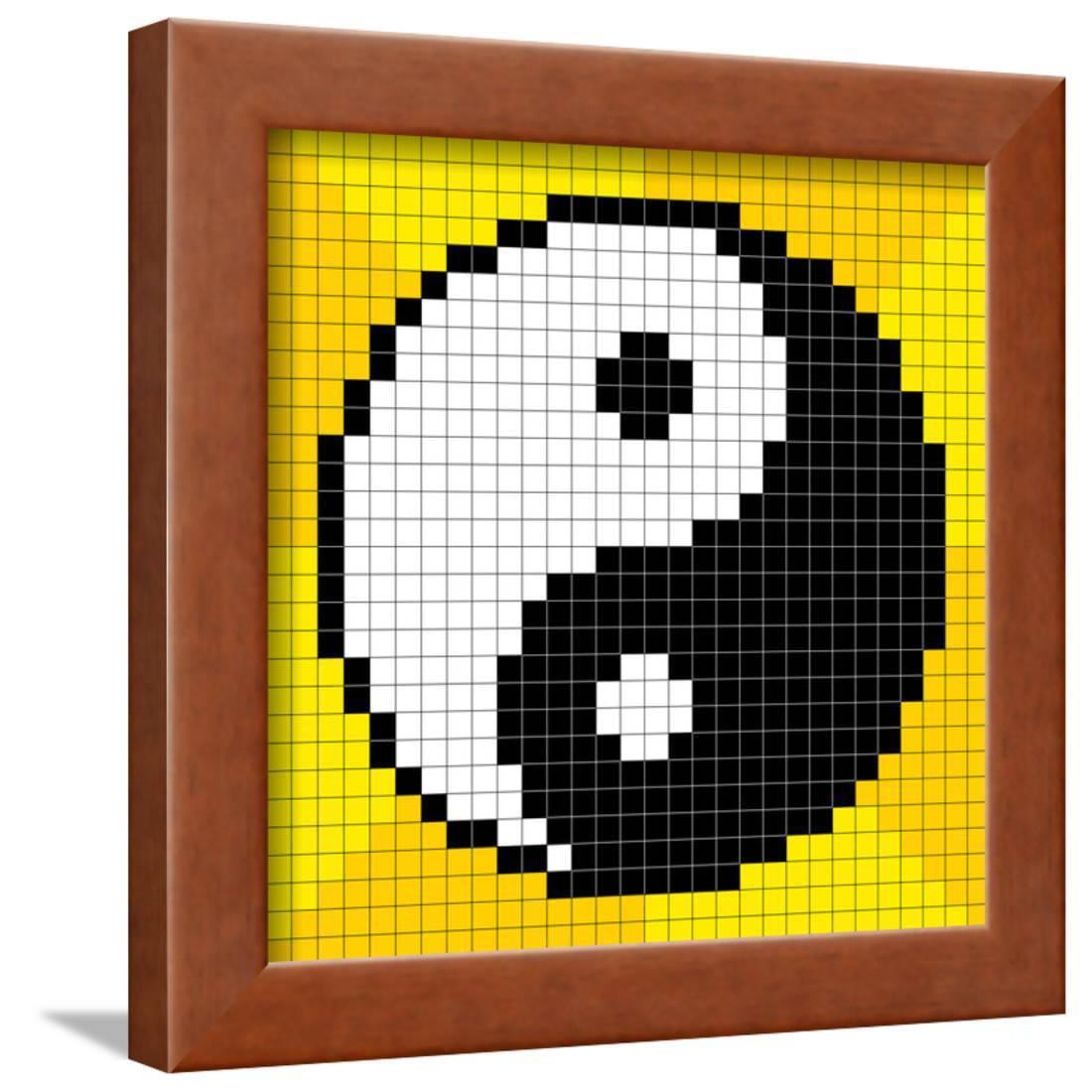 8 Bit Pixel Art Yin Yang Symbol Framed Print Wall Art By