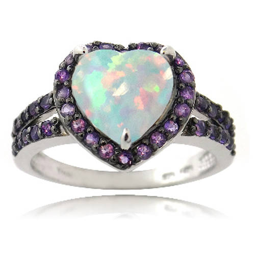 Created White Opal and Amethyst Sterling Silver Heart Ring by Generic