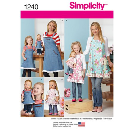 Simplicity Aprons for Misses, Children & 18