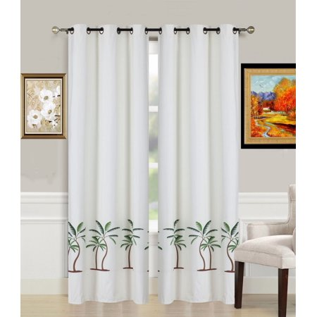 2-Piece PALM TREE Printed Lined Blackout Grommet Window Curtain Treatment, Set of Two (2) Room Darkening Panels 37