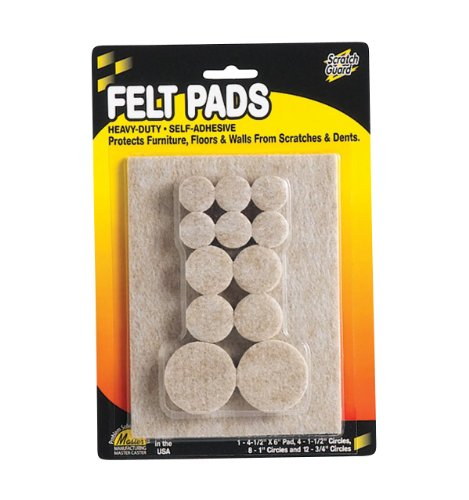 "Master Scratch Guard 88499 Heavy Duty Combo Felt Pads - 12 Pad Of 0.75"" Diameter, 8 Pad Of 1"" Diameter, 4 Pad Of 1.50"" Diameter - Circle - Self-adhesive - Beige - Polyester - 25/pack (MAS88499)"