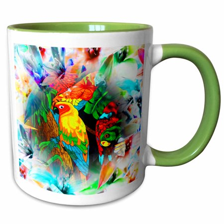 Bright Parrot Green - 3dRose Amazon Parrots with pretty floral background bright designer art - Two Tone Green Mug, 11-ounce