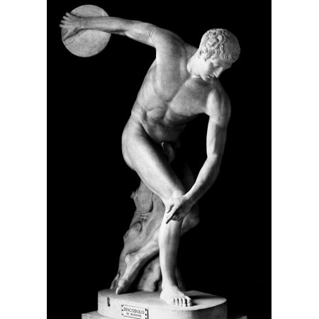Nice Roman Bronze - Greece The Discobolus Nantique Roman Marble Copy Of The Lost Greek Bronze By Myron Of 450 BC Rolled Canvas Art -  (24 x 36)