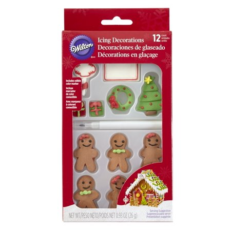 Baking Gingerbread House (Wilton Customizable Gingerbread House Icing Decorations, 12-Count )