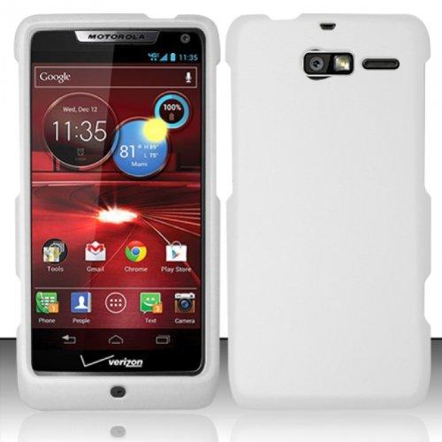 Design Rubberized Hard Case for Motorola Droid RAZR M XT907 - White Flower
