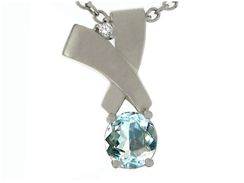 Tommaso Design Round 6mm Genuine Aquamarine Pendant Necklace by