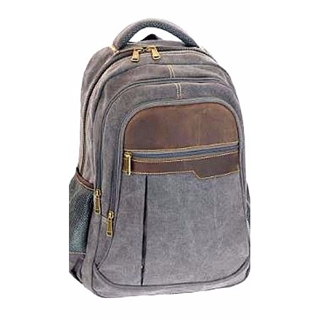 a9644fff77c4ea Juzar Tapal Collection - 15'.0 inch Laptop Backpack Men's Canvas Leather  School Book Bags Gray - Walmart.com