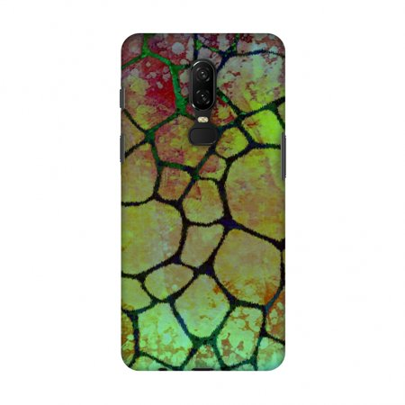 Aquatic Brush - OnePlus 6 Case - Giraffe - Soot Brushed Scales With Bleached Aquatic Watercolour, Hard Plastic Back Cover, Slim Profile Cute Printed Designer Snap on Case with Screen Cleaning Kit