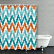 ARTJIA Orange Aqua Blue Chevron Pattern Design Bathroom Shower Curtain 60x72 inches