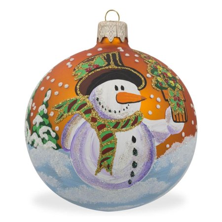 Snowman Glass Ball - Snowman with Gift Glass Ball Christmas Ornament 3.25 Inches