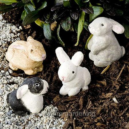 Miniature Herd of Bunnies, Set of 4 for Miniature Garden, Fairy Garden