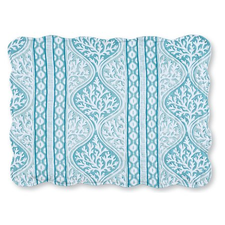 Sea Reef Blue Coral Stripe Ocean Beach Theme Bed Pillow