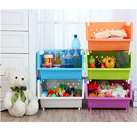 Kanstar 3 Baskets Kidsu0027 Toys Storage Organizer With Wheels Can Move  Everywhere Large Basket Natural