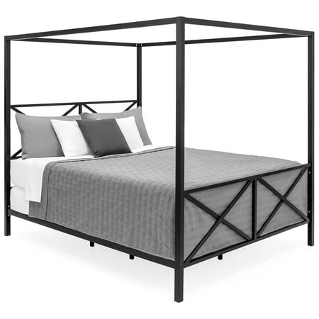 Best Choice Products Modern 4 Post Canopy Queen Bed w/ Metal Frame, Mattress Support, Headboard, Footboard -