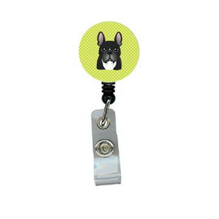 Carolines Treasures BB1289BR Checkerboard Lime Green French Bulldog Retractable Badge Reel - image 1 de 1