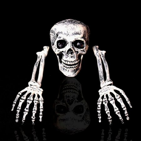 Halloween 5 Ending Scene (Realistic Skeleton Bones Skull Head And Hands For Best Halloween Party Decoration And Spookiest Graveyard)