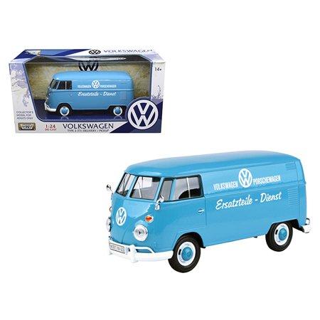 Free Delivery Model - Volkswagen Type 2 (T1) Delivery Truck Blue Porsche Wagen 1/24 Diecast Model Car by Motormax