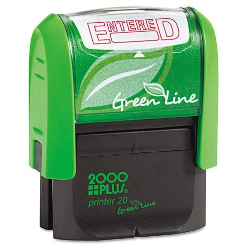 Consolidated Stamp 035348 2000 PLUS Green Line Message Stamp, Entered, 1 1/2 x 9/16, Red