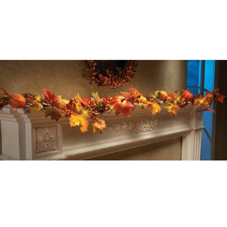 Fall Leaf Garland (Outtop 1.8M LED Lighted Fall Autumn Pumpkin Maple Leaves Garland Thanksgiving)